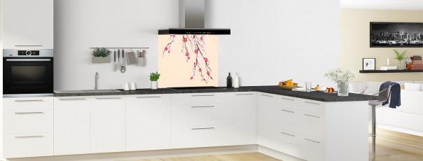 Crédence de cuisine Arbre fleuri couleur sable fond de hotte en perspective