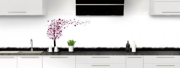 Crédence de cuisine Arbre d'amour couleur prune panoramique
