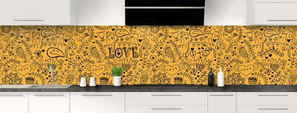 Crédence de cuisine Love illustration couleur abricot panoramique