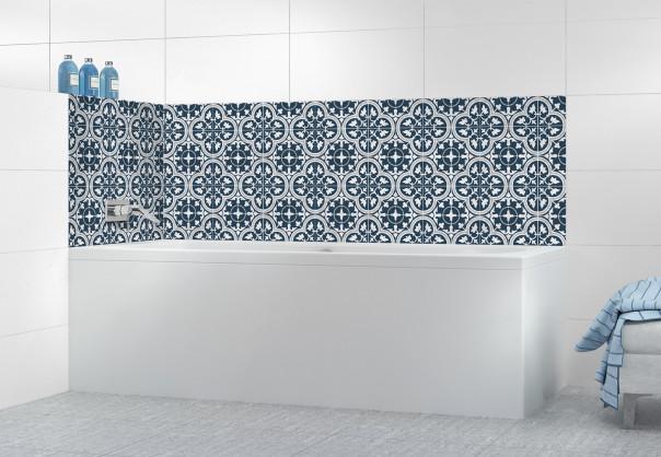 Panneau de bain Carreaux de ciment Nymphéas Bleu