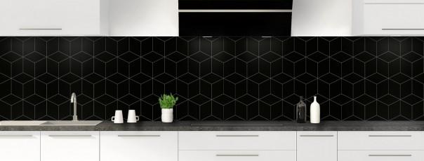 Crédence de cuisine Cubes en relief couleur noir panoramique