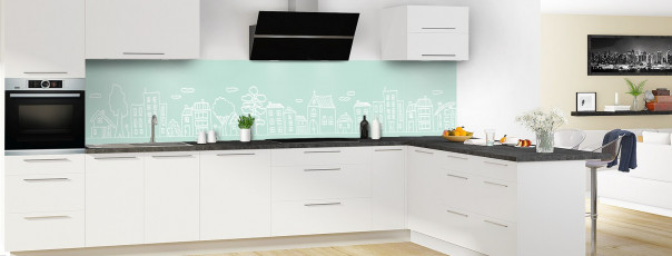Crédence de cuisine Dessin de ville couleur vert pastel panoramique en perspective