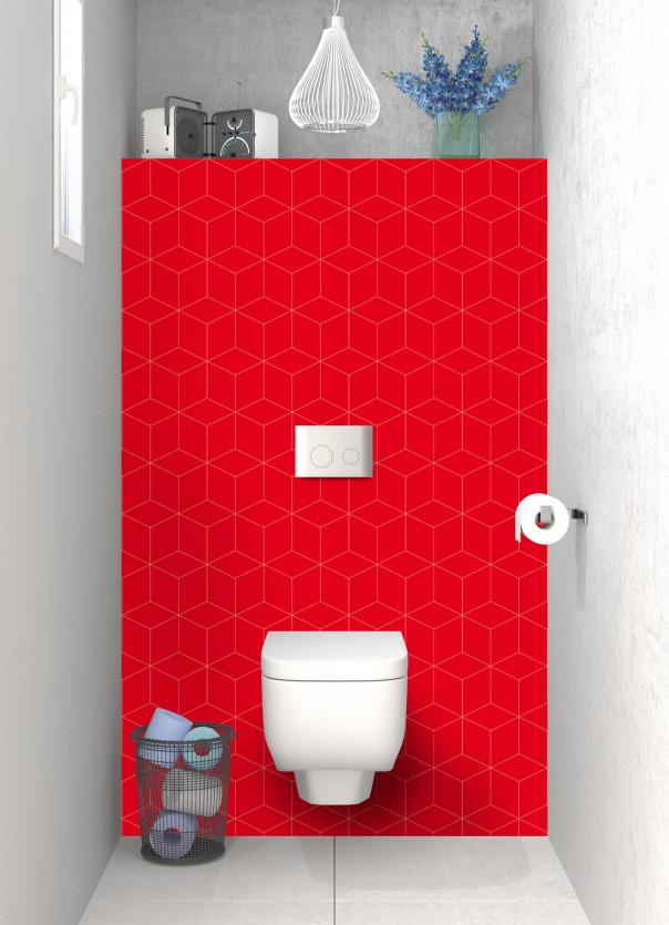 Panneau WC Cubes en relief couleur rouge vif