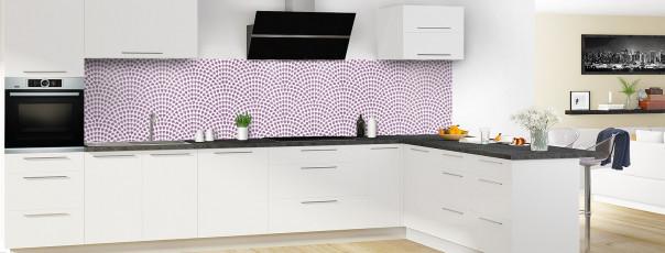 Crédence de cuisine Mosaïque petits cœurs couleur parme panoramique en perspective