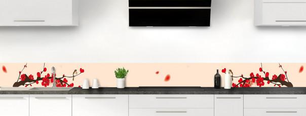 Crédence de cuisine Cerisier japonnais couleur sable dosseret motif inversé