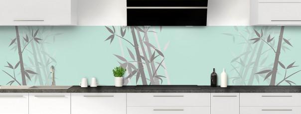 Crédence de cuisine Bambou zen couleur vert pastel panoramique motif inversé