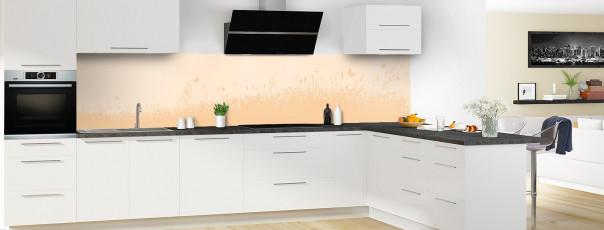 Crédence de cuisine Prairie et papillons couleur sable panoramique motif inversé en perspective