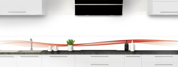 Crédence de cuisine Vague graphique couleur rouge brique dosseret motif inversé