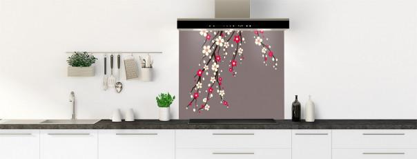 Crédence de cuisine Arbre fleuri couleur taupe fond de hotte motif inversé