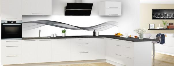 Crédence de cuisine Vague graphique couleur gris carbone panoramique en perspective