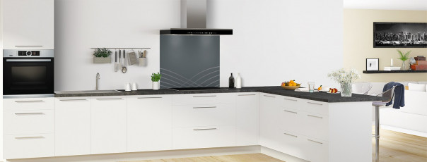 Crédence de cuisine Courbes couleur gris carbone fond de hotte en perspective