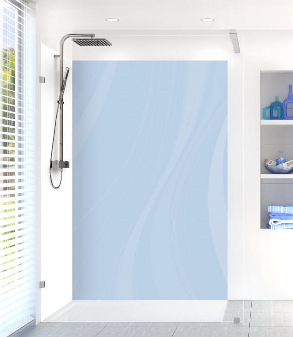Panneau de douche Voilage couleur bleu azur motif inversé