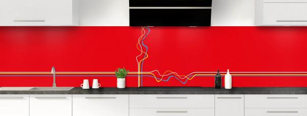 Crédence de cuisine Light painting couleur rouge vif panoramique