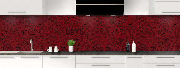 Crédence de cuisine Love illustration couleur rouge pourpre panoramique