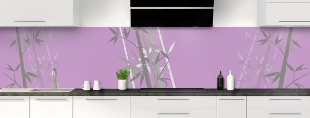 Crédence de cuisine Bambou zen couleur parme panoramique motif inversé