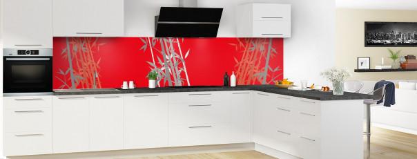 Crédence de cuisine Bambou zen couleur rouge vif panoramique motif inversé en perspective