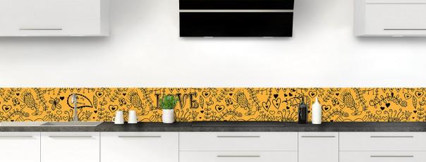 Crédence de cuisine Love illustration couleur abricot dosseret