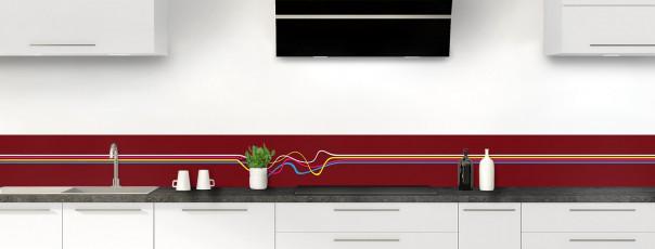 Crédence de cuisine Light painting couleur rouge pourpre dosseret motif inversé