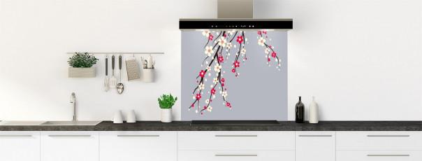 Crédence de cuisine Arbre fleuri couleur gris métal fond de hotte motif inversé