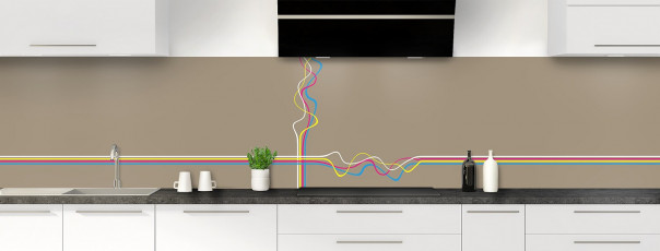 Crédence de cuisine Light painting couleur marron glacé panoramique