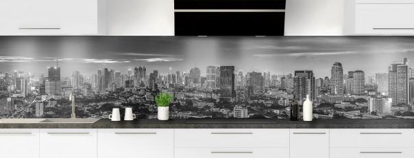 Crédence de cuisine Bangkok Noir & Blanc panoramique