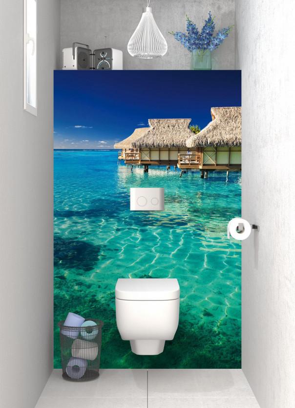 Panneau WC Maison pilotis et lagon motif inversé