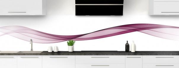Crédence de cuisine Vague graphique couleur prune panoramique motif inversé