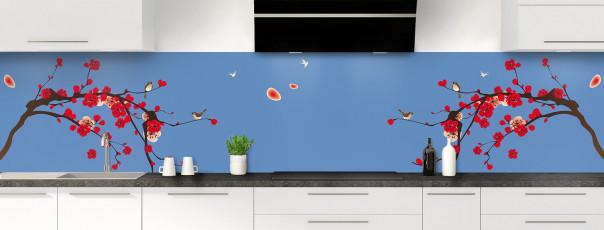 Crédence de cuisine Cerisier japonnais couleur bleu lavande panoramique