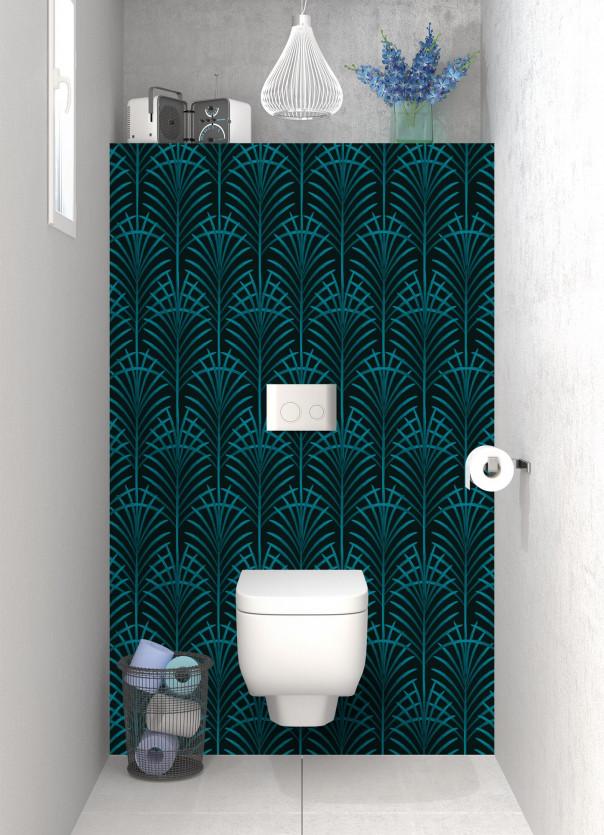 Panneau WC Feuilles de paume couleur bleu canard