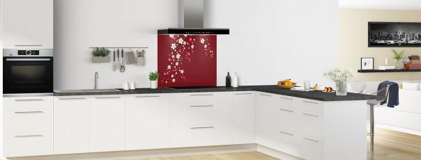 Crédence de cuisine Arbre fleuri couleur rouge pourpre fond de hotte motif inversé en perspective