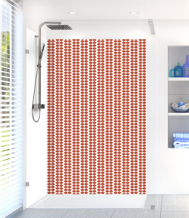 Panneau de douche Petites Feuilles  couleur rouge brique