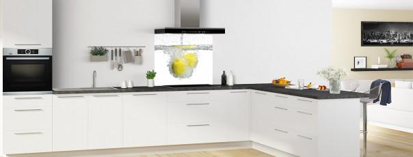 Crédence de cuisine Aqua et citron fond de hotte en perspective