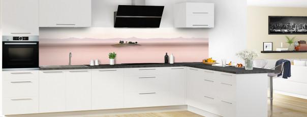 Crédence de cuisine Brume rosée panoramique motif inversé en perspective
