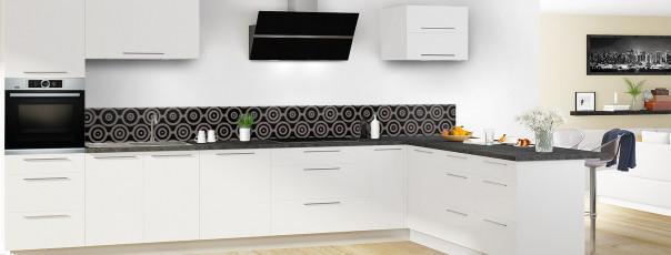 Crédence de cuisine Papier peint rétro couleur noir dosseret en perspective
