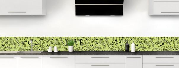 Crédence de cuisine Love illustration couleur vert olive dosseret