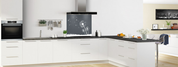 Crédence de cuisine Pissenlit au vent couleur gris carbone fond de hotte motif inversé en perspective