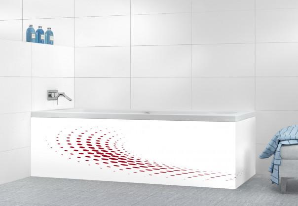 Panneau tablier de bain Nuage de points couleur rouge carmin motif inversé