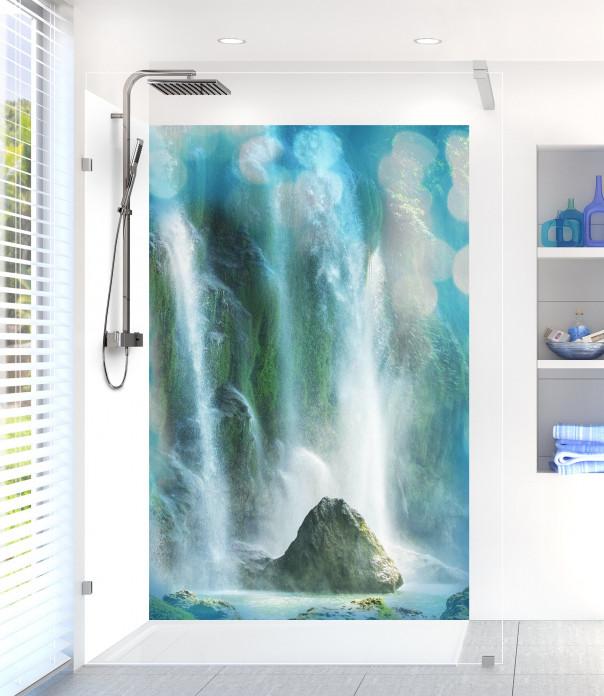 Panneau de douche Rocher et cascade motif inversé