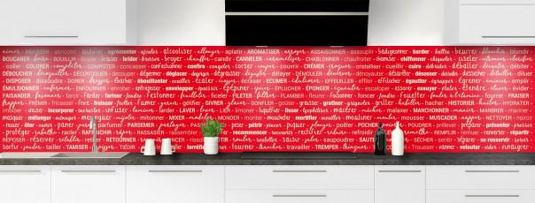 Crédence de cuisine Etapes de recette couleur rouge vif panoramique