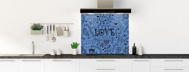Crédence de cuisine Love illustration couleur bleu lavande fond de hotte