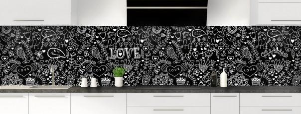 Crédence de cuisine Love illustration couleur noir panoramique