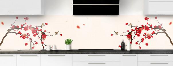 Crédence de cuisine Cerisier japonnais couleur magnolia panoramique