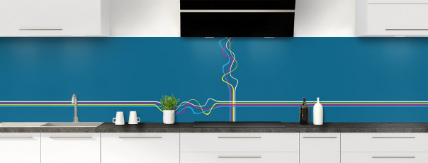 Crédence de cuisine Light painting couleur bleu baltic panoramique motif inversé