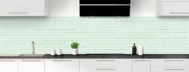 Crédence de cuisine Recettes de cuisine couleur vert eau panoramique