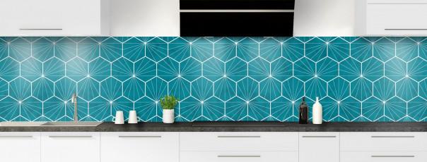 Crédence de cuisine Carreaux de ciment hexagonaux bleu panoramique