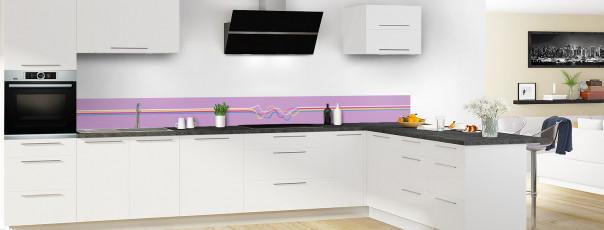 Crédence de cuisine Light painting couleur parme dosseret en perspective