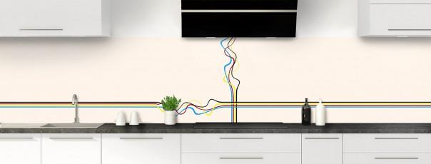 Crédence de cuisine Light painting couleur magnolia panoramique motif inversé
