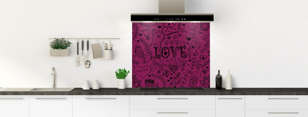 Crédence de cuisine Love illustration couleur prune fond de hotte