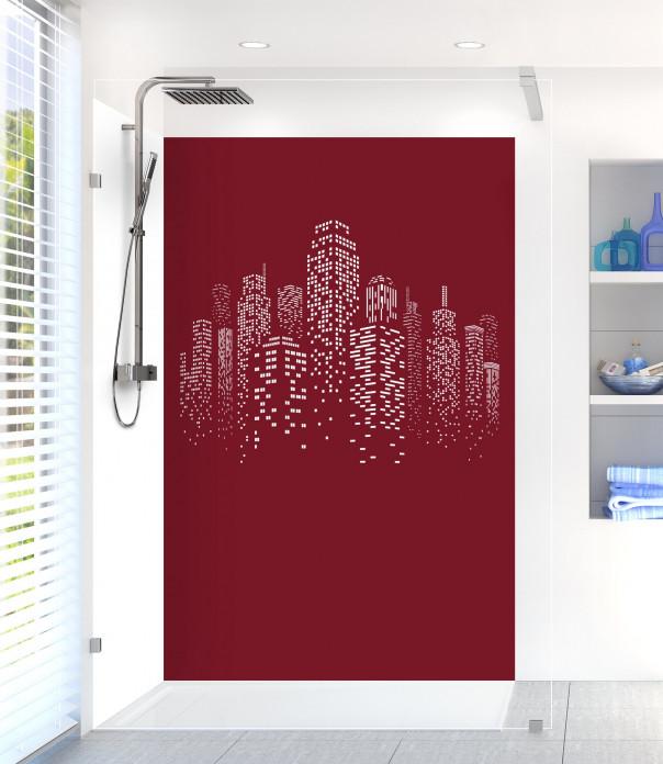 Panneau de douche Gratte-ciels couleur rouge pourpre