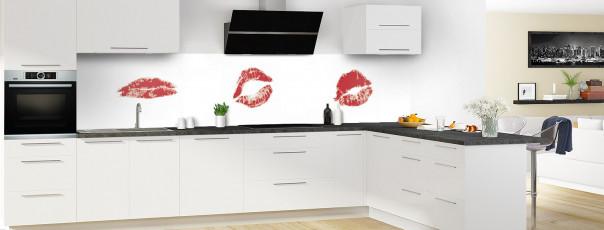 Crédence de cuisine Bisous panoramique motif inversé en perspective